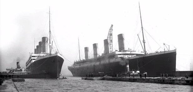 The last photograph of the Olympic and the Titanic together.