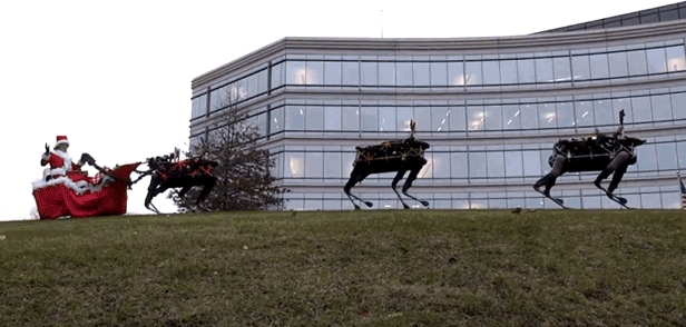 Boston Dynamics' Robo-Dogs or Robot Reindeer Pulling a Sleigh