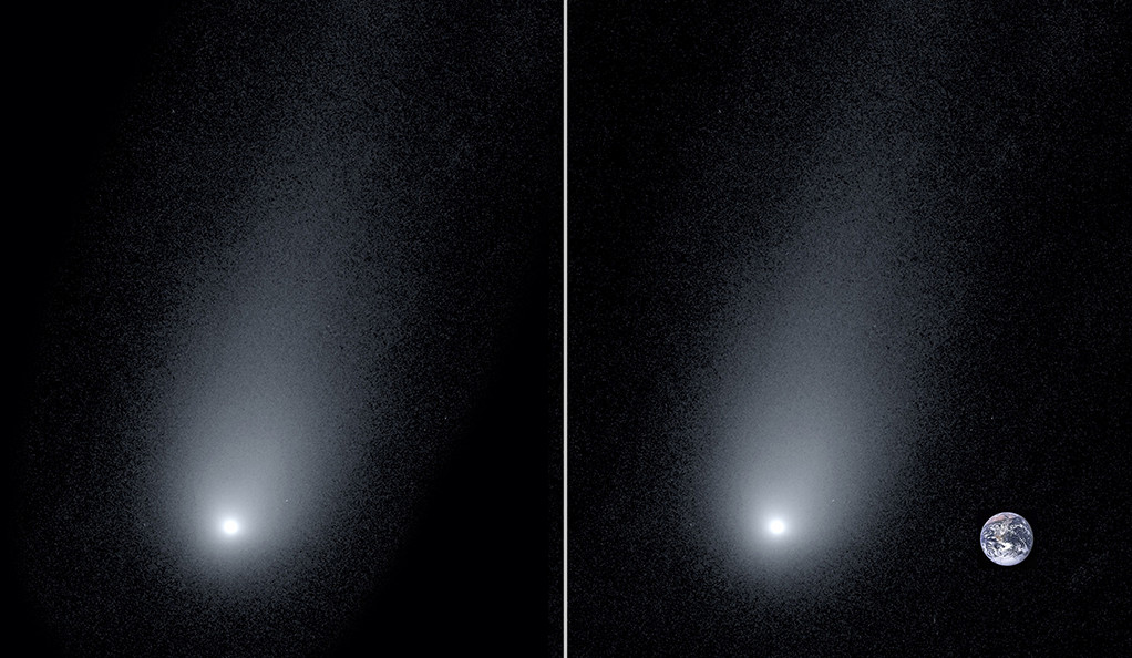 The interstellar comet, 2l/Borisov, that's heading straight for Earth. Earth for scale on the right. [via - Yale University]