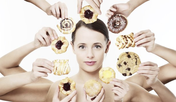 Woman with Sugary Foods. How Does Sugar Affect The Brain?