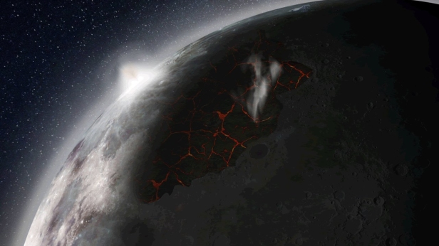 Artistic impression of the Moon, showing volcanoes erupting, venting gases and producing a thick atmosphere. Credit: NASA MSFC