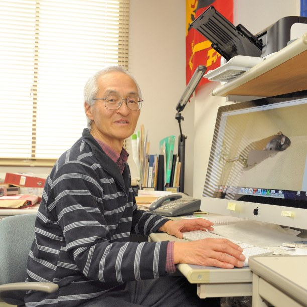 Professor Hayashi who is called White Lion by his students because of his white hair and big voice
