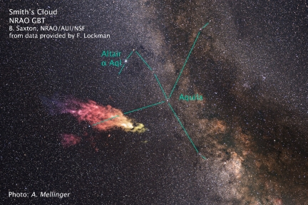 Location of a huge gas cloud known as the Smith Cloud