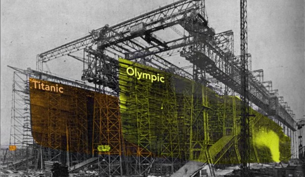Complete hulls of the Titanic and The Olympic