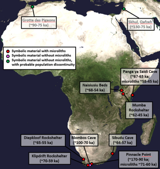 African archaeological sites with evidence of symbolism and use of microlithic tools. [Image:  NASA Goddard Space Flight Center Image ]